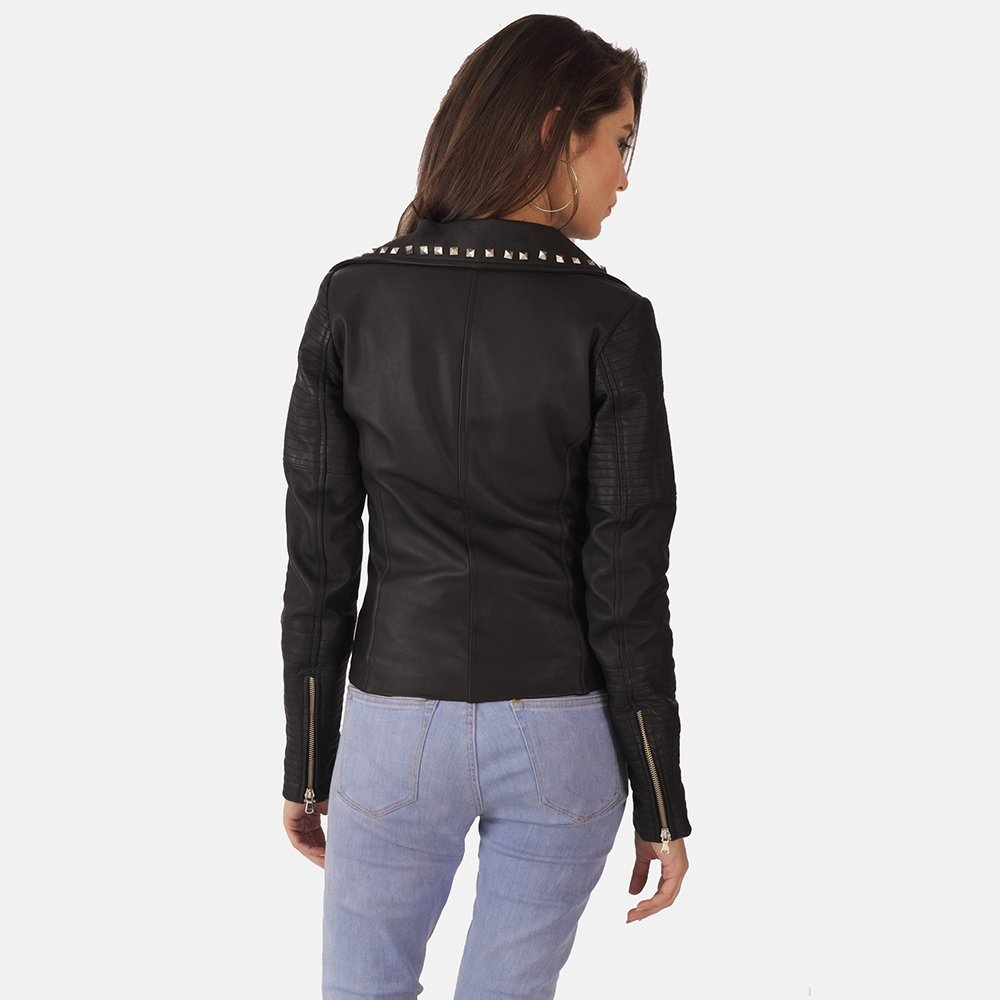 new Studded Black Leather Biker Jacket for Women