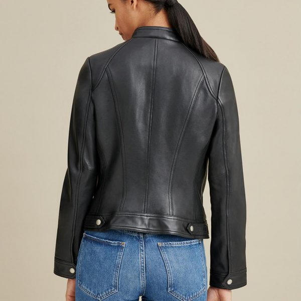 new Tab Collar Leather Jacket for Women