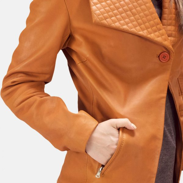 new Tan Brown Leather Blazer for Women