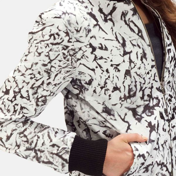 new White Leather Bomber Jacket for Women