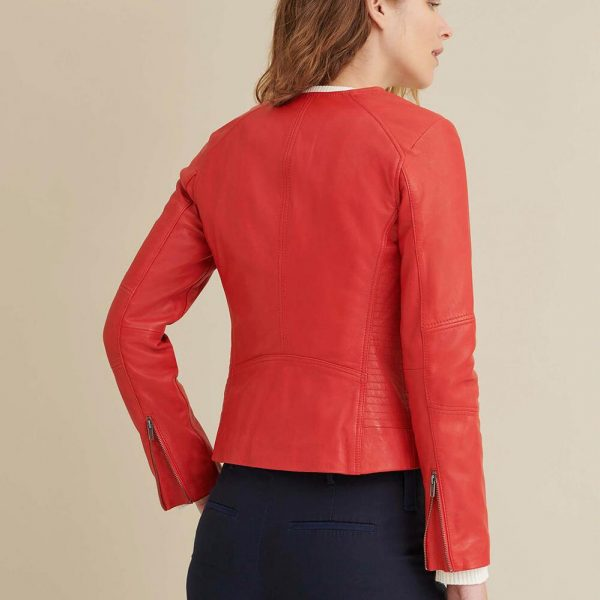 best Red Leather Jacket with Side Stitching for Women