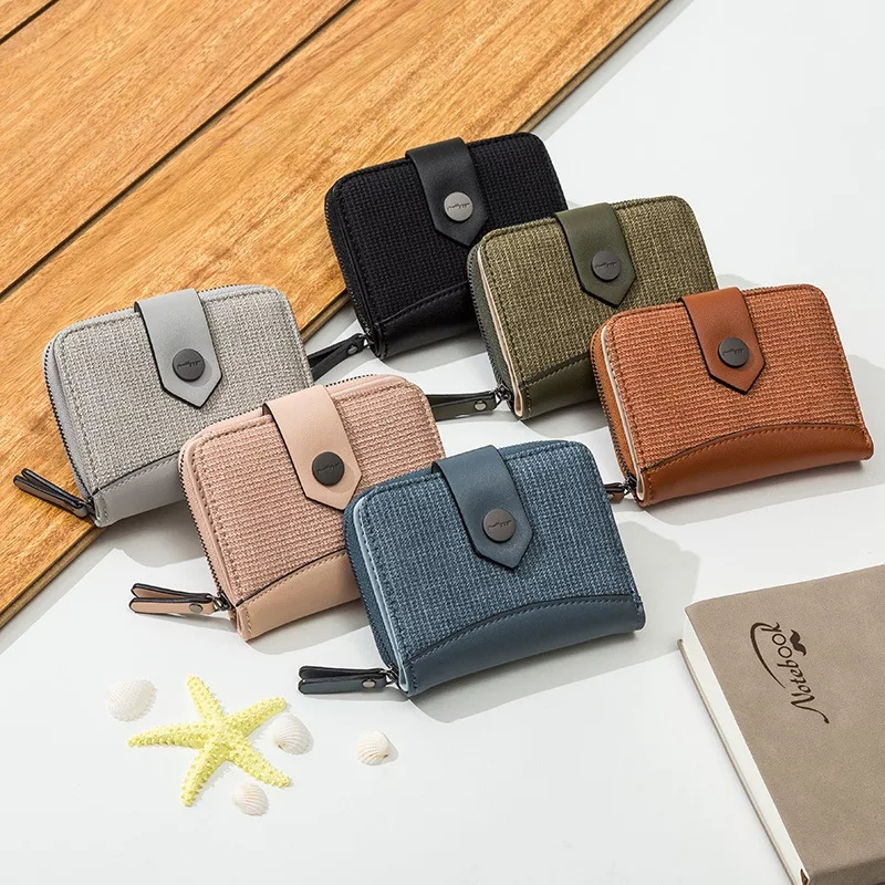 Multifunction Short Wallet Leather Coin Zipper