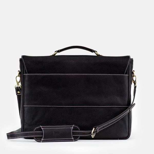 Russell Black Leather Laptop Bag
